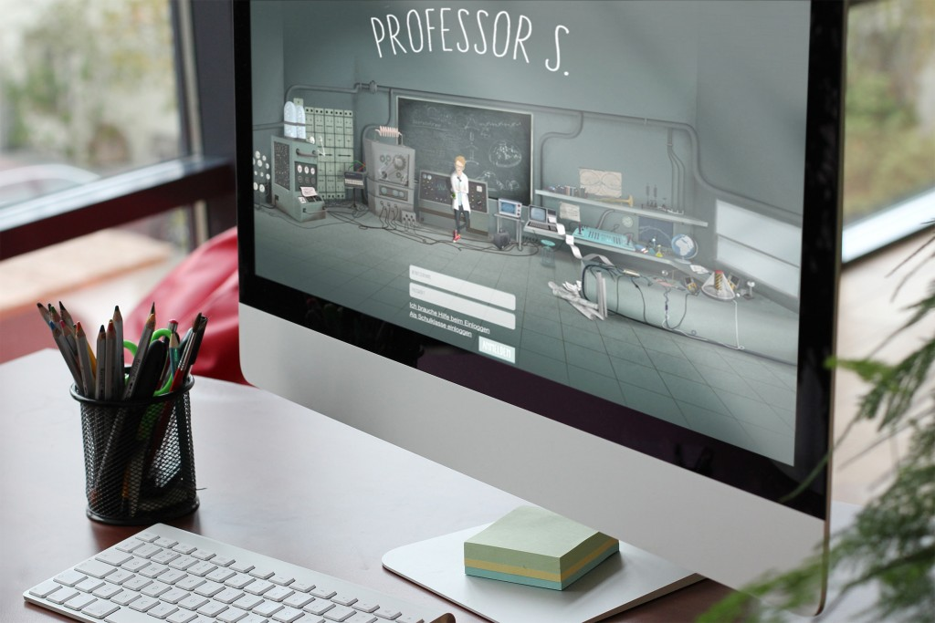 Computer in classroom with Professor S login screen